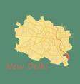 new delhi map flat style design vector image vector image