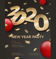 new year party invitation paper number 2020 vector image vector image