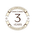 realistic three years anniversary celebration logo vector image vector image