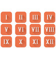 roman numerals orange square icons vector image vector image