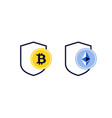 secure cryptocurrency payment bitcoin ethereum vector image vector image