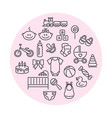 set baby icons line art signs vector image vector image