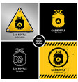 set gas bottle warning symbols vector image vector image