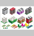 Set isometric elements skyscrapers park