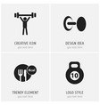 set of 4 editable sport icons includes symbols vector image vector image