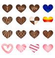set of art milk chocolate in heart shape vector image
