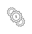 set of cogwheels dollar icons vector image vector image