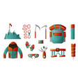set of tools for backpacking climber set is all vector image vector image