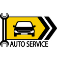sign with car wrench and arrow vector image vector image