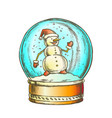 snow globe with snowman souvenir vintage color vector image vector image