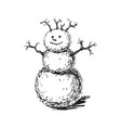 snowman hand drawn sketch vector image