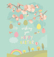 spring blooming tree with easter eggs vector image