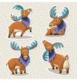 sticker set cute cartoon hand drawn elks vector image vector image