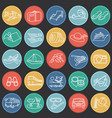summer vacation thin line set on color circles vector image vector image