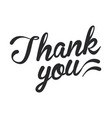 thank you black lettering vector image