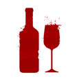 wine bottle and glass alcoholic drink abstract vector image vector image
