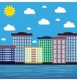city by the sea on a sunny day vector image