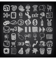 49 hand drawing doodle icon set on black vector image vector image