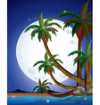 A beach with a bright fullmoon vector image vector image