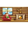 A monkey reading at the chair near the fireplace vector image vector image