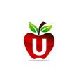 apple letter u logo design template vector image vector image