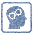 brain gears fabric textured icon vector image vector image