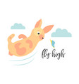 bright card with cute jumping rabbit and butterfly vector image