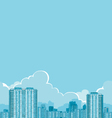 buildings and clouds vector image vector image