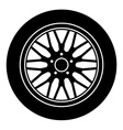 car aluminum wheel black white symbol vector image vector image