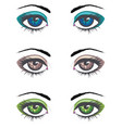 cartoon female eyes set vector image vector image