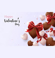 chocolate and white hearts shape cute vector image vector image
