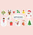 christmas and happy new year holiday stickers set vector image