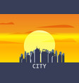 city megapolis sunset cityscape evening skyline vector image vector image