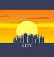 city megapolis sunset cityscape evening skyline vector image vector image