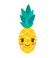 color kawaii pineapple icon isolated on white vector image vector image