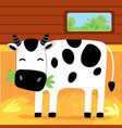 cow eat grass on farm kid graphic vector image
