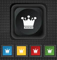 Crown icon sign symbol Squared colourful buttons vector image vector image
