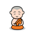 cute buddhist monk vector image vector image