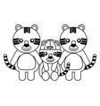 cute family tigers animals cartoon vector image