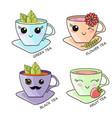 cute kawaii hot tea cup teabag vector image vector image