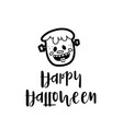 cute monster wishing happy halloween on card vector image