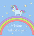 cute unicorn and rainbow with stars greeting card vector image vector image