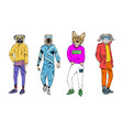 different fashion models with animal heads set vector image vector image