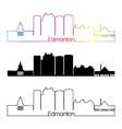 Edmonton V2 skyline linear style with rainbow vector image vector image