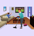 father vacuuming the carpet in the house vector image vector image