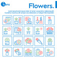 flowers symbols color linear icon set vector image vector image