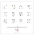 Folded Line Icons Set vector image vector image