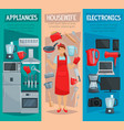 housewife home appliances and kitchenware banner vector image vector image