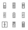 Interior doors icons set outline style vector image vector image