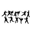 karate activity sport silhouettes vector image vector image